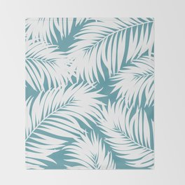 Palm Tree Fronds White on Soft Blue Hawaii Tropical Décor Throw Blanket