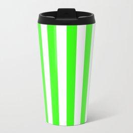 Narrow Vertical Stripes - White and Neon Green Travel Mug