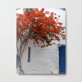 Bougainvillea at a greek island Metal Print
