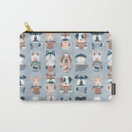 Doggie Coffee and Tea Time I // blue grey Carry-All Pouch