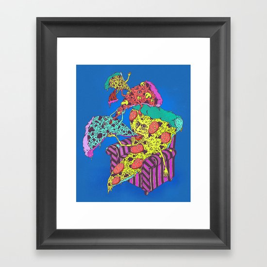 Pizza Eating Pizza - Blue Edition Framed Art Print