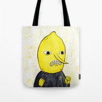lemongrab Tote Bags featuring Lemongrab is acceptabbbbbbbble.  by Naomi Hodgson