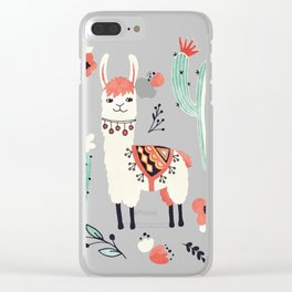White Llama with flowers Clear iPhone Case