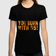 Fire is Catching! SMALL Black Womens Fitted Tee