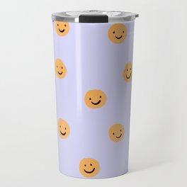 Purple Smiley Face Travel Mug