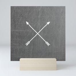 gray crossed arrows Mini Art Print