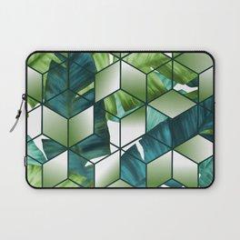 Tropical Cubic Effect Banana Leaves Design Laptop Sleeve