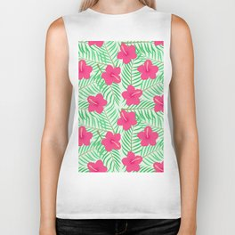 Hot pink green modern tropical floral palm leaves pattern Biker Tank