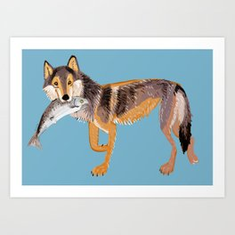 Totem Coastal wolf (Vancouver Wolf) Art Print