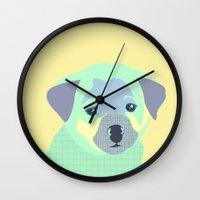 puppy Wall Clocks featuring Puppy by Ela Caglar