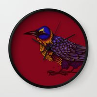 crow Wall Clocks featuring Crow by Sarinya  Withaya