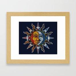 Celestial Mosaic Sun and Moon Framed Art Print