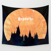 hogwarts Wall Tapestries featuring Hogwarts by IA Apparel