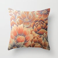 lotus flower Throw Pillows featuring Lotus by Jess Moore
