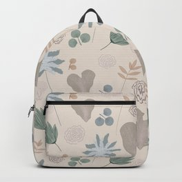 Muted Garden Greenery and Blooms Backpack