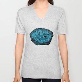 Teal & Turquoise Agate Crystal Gemstone Unisex V-Neck