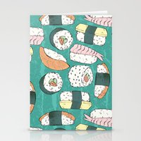 sushi Stationery Cards featuring Sushi by Abi Woodhouse