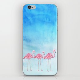 Flamingo Bird Summer Lagune - Watercolor Illustration iPhone Skin