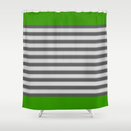 Green Black White Stripes Shower Curtain
