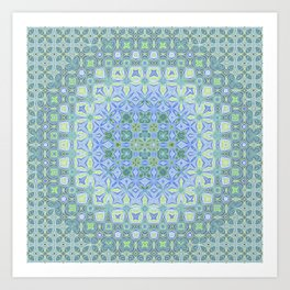 light blue butterfly kaleidoscope Art Print