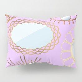 Retro Rattan Midcentury Mirrors in Lilac Pillow Sham
