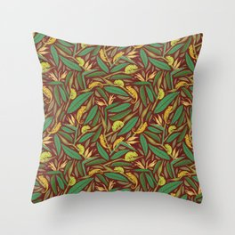 Green chameleon on strelitza amoung palm leaves on maroon background Throw Pillow