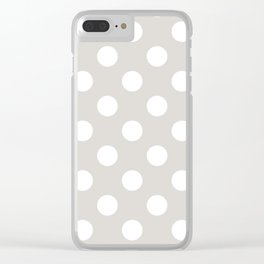 Timberwolf - grey - White Polka Dots - Pois Pattern Clear iPhone Case