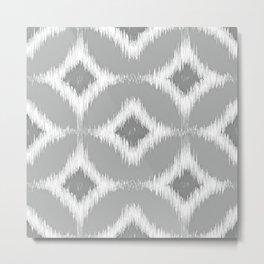 Elegant White Gray Retro Circles Squares Ikat Pattern Metal Print