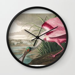 Roseate spoonbill, Birds of America, Audubon Plate 321 Wall Clock