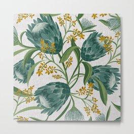 Sugarbush - Botanical Floral Pattern Flax Metal Print