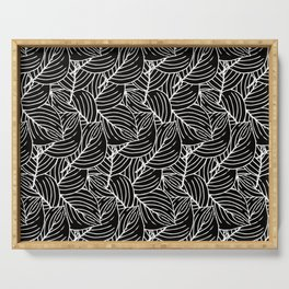 Simple Leaves Pattern - White on Black - Mix & Match with Simplicity of life Serving Tray