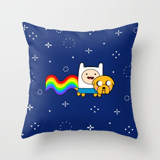 Nyan Time: Adventure Time plus Nyan Cat Throw Pillow