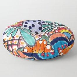 Colorful Talavera, Orange Accent, Large, Mexican Tile Design Floor Pillow
