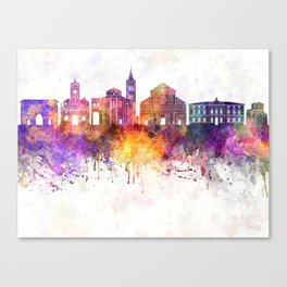 Zadar skyline in watercolor background Canvas Print