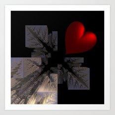 red heart meets fractal design Art Print