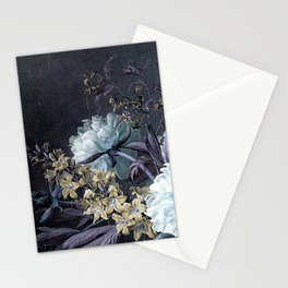 Taupe Turquoise Text Classic Floral Stationery Cards