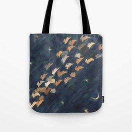 The moon, Venus and shooting star Tote Bag