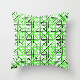 Intersecting light green lines with a black diagonal on a white background. Throw Pillow