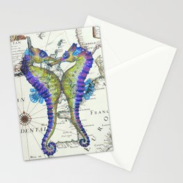 Blue Seahorse Kiss Stationery Cards
