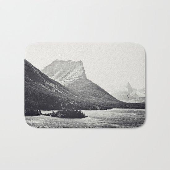 Glacier Mountain Lake Black and White Bath Mat