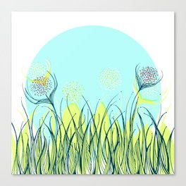 Tangled grass and flowers Canvas Print