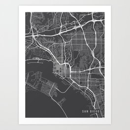 San Diego Map, California USA - Charcoal Portrait Art Print