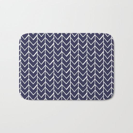 Herringbone Blue And White Bath Mat