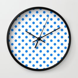 Small Polka Dots - Dodger Blue on White Wall Clock