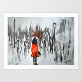 The Girl In The Red Rain Coat (Part 3)  Fine Art Acrylic Painting Art Print