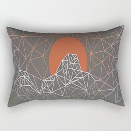 sun line lighs nets green orange Geometric Mountains Rectangular Pillow