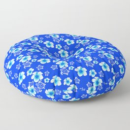 Blue Floral And Turtles Hawaiian Pattern Floor Pillow