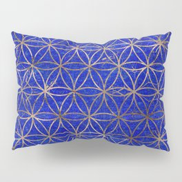 Flower of life pattern - Lapis Lazuli and Gold Pillow Sham