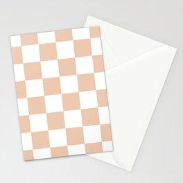 Large Checkered - White and Desert Sand Orange Stationery Cards