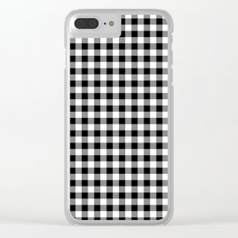 Classic Black and White Western Cowboy Buffalo Check Clear iPhone Case